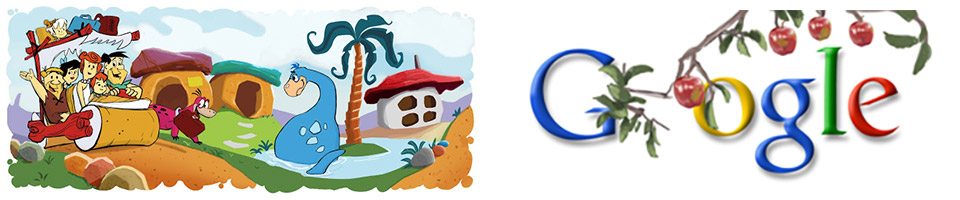 Google doodles: Flintstones' 50th Anniversary (30 September 2010) and Sir Isaac Newton's 367th Birthday (4 January 2010)
