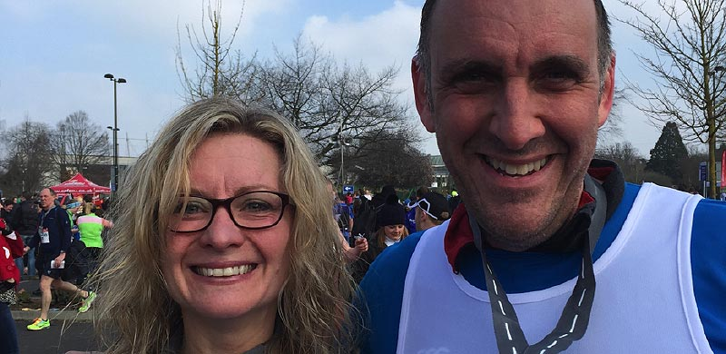 Adam and Sarah training for the 2016 London Marathon
