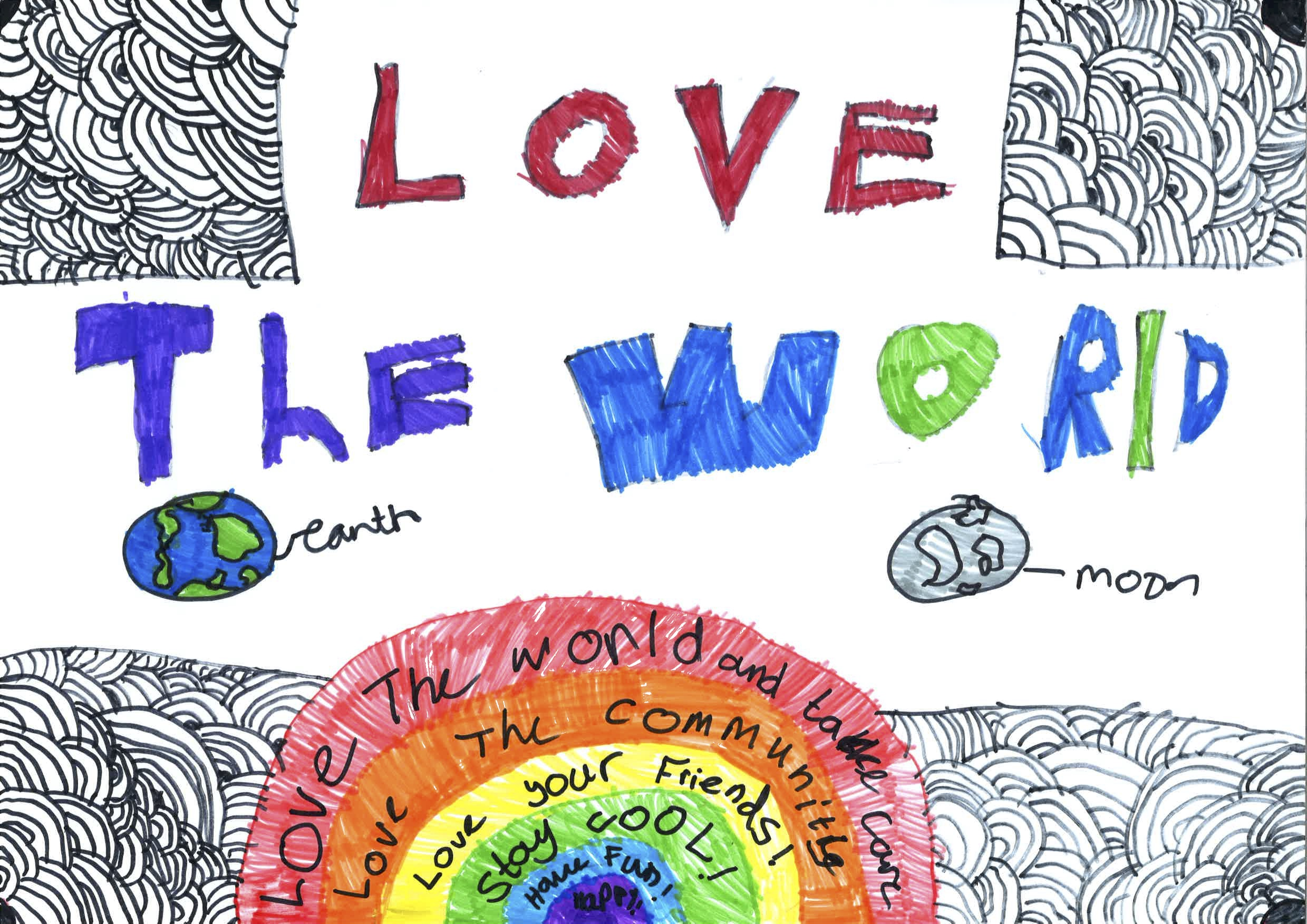 Children's drawing of a rainbow, globe, and moon, with 'Love the World' written above